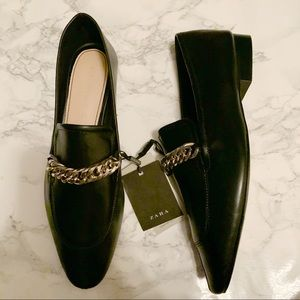 Zara Black Leather Chain Detail Pointed Toe Loafer